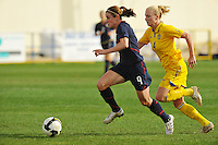 USA midfielder Heather O'Reilly attacks the goal.  The USA was victorious over Sweden 2-0 in Ferreiras on March 1, 2010 at the Algarve Cup.