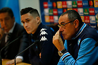 Maurizio Sarri  and Jose Callejon  during press conference at the eve of the Champions League  soccer match against Manchester City ,    at the Centro Tecnico Castelvolturno 31/10/2017