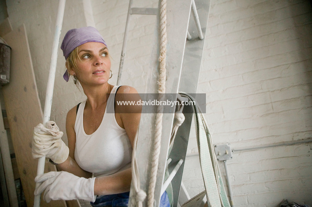 12 May 2006 - New York City, NY - Artist Cecilia Rodhe poses in her studio in New York City, USA, 12 May 2006. Former model, Rodhe is the mother of high school basketball sensation Joakim Noah and the ex-wife of retired French tennis player Yannick Noah.