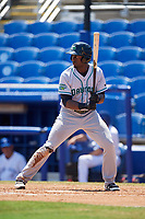 Daytona Tortugas left fielder Taylor Trammell (5) at bat during a game against the Dunedin Blue Jays on April 22, 2018 at Dunedin Stadium in Dunedin, Florida.  Daytona defeated Dunedin 5-1.  (Mike Janes/Four Seam Images)
