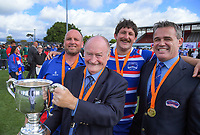 From left, Horowhenua Kapiti's Chris Wilton, John Mowbray, Ryan Shelford and Corey Kennet celebrate winning the 2018 Heartland Championship Lochore Cup rugby final between Horowhenua Kapiti and Wairarapa Bush at Levin Domain in Levin, New Zealand on Sunday, 28 October 2018. Photo: Dave Lintott / lintottphoto.co.nz