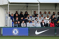 Chelsea's Cesar Azpilicueta (Bottom row, third from right) watches the match from the Stand during Chelsea Under-19 vs AS Monaco Under-19, UEFA Youth League Football at the Cobham Training Ground on 19th February 2019