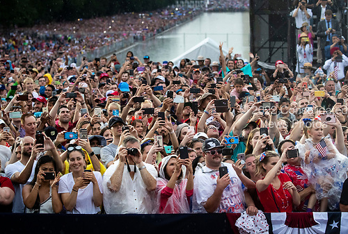 """Attendees cheer as U.S. President Donald Trump speaks during the Fourth of July Celebration 'Salute to America' event in Washington, D.C., U.S., on Thursday, July 4, 2019. The White House said Trump's message won't be political -- Trump is calling the speech a """"Salute to America"""" -- but it comes as the 2020 campaign is heating up. <br /> Credit: Al Drago / Pool via CNP"""