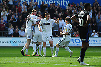 Barrie McKay of Swansea City celebrates scoring his side's equalising goal to make the score 2-2 during the Sky Bet Championship match between Swansea City and Rotherham United at the Liberty Stadium in Swansea, Wales, UK.  Friday 19 April 2019