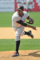 Emmanuel de Leon (41) of the Altoona Curve pitches during a game against the New Britain Rock Cats at New Britain Stadium on July 23, 2014 in New Britain, Connecticut.  Altoona defeated New Britain 8-5. (Gregory Vasil/Four Seam Images)