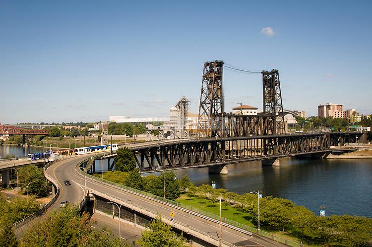 Aerial view looking northeast at the Steel Bridge.