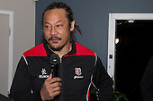 Steelers coach Tana Umaga speaks at  the launch of the new Counties Manukau Womens provincial rugby team for 2013.