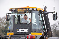 Yound driver operating a destoner with a JCB Fast Tastrac - Norfolk, february