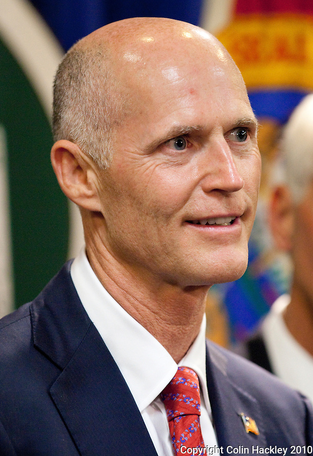 TALLAHASSEE, FLA. 11/9/10-SCOTT-CRIST 110910 CH-Governor-elect Rick Scott during a news conference Tuesday at the Capitol in Tallahassee...COLIN HACKLEY PHOTO