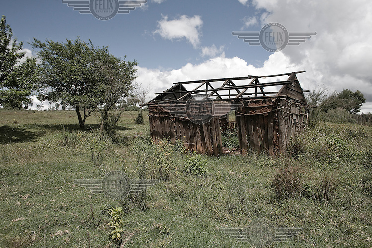 One of the many burned farmhouses that still scar the landscape in the Rift Valley. A year after a political crisis led to violence, tens of thousands of people remain displaced. Over 1,000 people were killed and 300,000 were displaced in violence with inflammatory ethnic undertones.