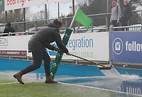 9nd February 2020; Energia Park, Dublin, Leinster, Ireland; International Womens Rugby, Six Nations, Ireland versus Wales; IRFU staff brush water from the pitch after torrential rain and hail