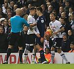 Tottenham's Dele Alli clashes with Newcastle's Alesandar Mitrovic<br /> <br /> Barclays Premier League- Tottenham Hotspur vs Newcastle United - White Hart Lane - England - 13th December 2015 - Picture David Klein/Sportimage
