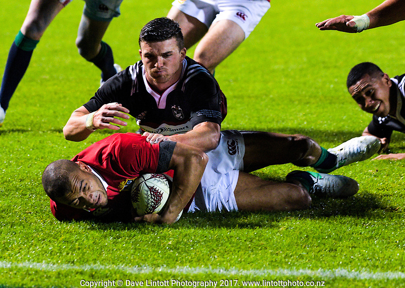 Bryn Gatland stops Jonathan Joseph from scoring during the 2017 DHL Lions Series rugby union match between the NZ Provincial Barbarians and British & Irish Lions at Toll Stadium in Whangarei, New Zealand on Saturday, 3 June 2017. Photo: Dave Lintott / lintottphoto.co.nz