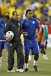 12 September 2007: Brazil's Ronaldinho (r) and Carlos Alberto Torres. The Brazil Men's National Team defeated the Mexico Men's National Team 3-1 at Gillette Stadium in Foxborough, Massachusetts in an international friendly.