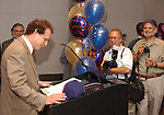 Howie Schneider, Dave Pokress and Andreas Constantinou, seen at the retirement Celebration for Tony Marro held at Melville Office of Newsday on Tuesday, August 12, 2003. (Photo / Jim Peppler).