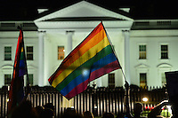 Washington, DC - June 12, 2016: Members of the LGBT community, friends and family held a vigil in front of the White House, June 12, 2016, to show support for the victims of the mass shooting at a club in Orlando, Florida. The shooting was the deadliest in U.S. history, with 50 fatalities and 53 casualties.  (Photo by Don Baxter/Media Images International)