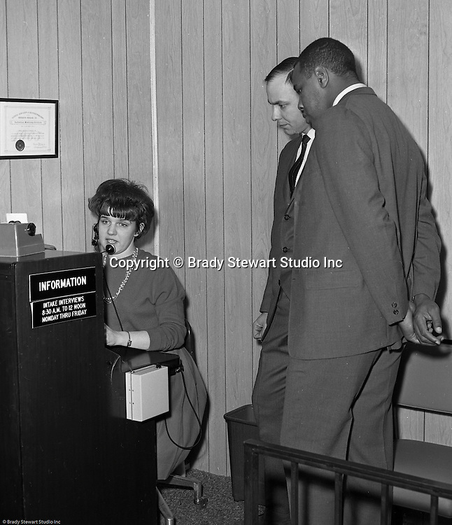 Pittsburgh PA:  Willie Stargell getting a tour of the Goodwill Industries facility - 1966.  Willie and a many other Pittsburgh Pirates were very involved in the community supporting charitable causes.  <br />