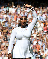 Serena Williams (USA) celebrates after her victory against  Camila Giorgi (ITA) in their Ladies' Quarter Final match<br /> <br /> Photographer Rob Newell/CameraSport<br /> <br /> Wimbledon Lawn Tennis Championships - Day 8 - Tuesday 10th July 2018 -  All England Lawn Tennis and Croquet Club - Wimbledon - London - England<br /> <br /> World Copyright &not;&copy; 2017 CameraSport. All rights reserved. 43 Linden Ave. Countesthorpe. Leicester. England. LE8 5PG - Tel: +44 (0) 116 277 4147 - admin@camerasport.com - www.camerasport.com