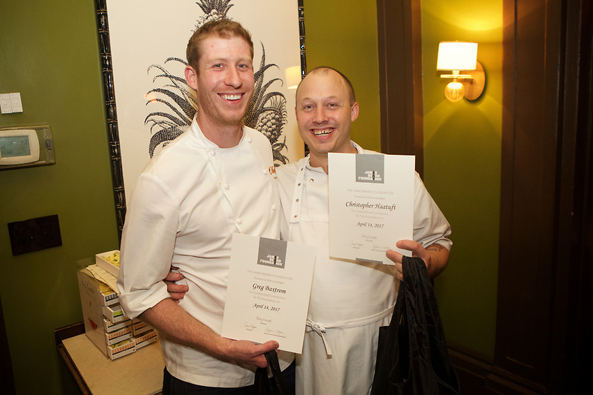 NEW YORK, NY - April 14, 2017:  Brooklyn Chef Greg Baxtrom of Olmsted and Norway Chef Christopher Haatuft of Lysverket present a collaborative dinner at the James Beard House.<br /> <br /> Credit: Clay Williams for The James Beard Foundation<br /> <br /> &copy; Clay Williams / http://claywilliamsphoto.com
