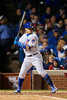 Chicago Cubs Javier Baez (9) bats in the sixth inning during Game 5 of the Major League Baseball World Series against the Cleveland Indians on October 30, 2016 at Wrigley Field in Chicago, Illinois.  (Mike Janes/Four Seam Images)