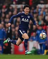 Heung-Min Son of Tottenham chases down the ball during the EPL - Premier League match between Chelsea and West Ham United at Stamford Bridge, London, England on 8 April 2018. Photo by PRiME Media Images.