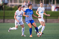 Boston, MA - Friday August 04, 2017: Christina Gibbons and Katie Stengel during a regular season National Women's Soccer League (NWSL) match between the Boston Breakers and FC Kansas City at Jordan Field.