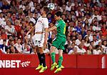 Real Sociedad's Aritz Elustondo and Sevilla FC's Luuk de Jong during La Liga match. Sep 29, 2019. (ALTERPHOTOS/Manu R.B.)