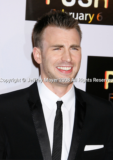 """WESTWOOD, CA. - January 29: Actor Chris Evans arrives at the Los Angeles Premiere of """"Push"""" at the Mann Village Theater on January 29, 2009 in Westwood, California."""