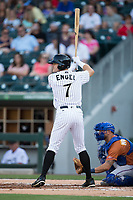 Adam Engel (7) of the Charlotte Knights at bat against the Durham Bulls at BB&T BallPark on May 16, 2017 in Charlotte, North Carolina.  The Knights defeated the Bulls 5-3. (Brian Westerholt/Four Seam Images)