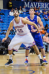 Texas-Arlington Mavericks forward Jordan Reves (55) and Houston Baptist Huskies guard James Harper (5) in action during the game between the Houston Baptist Huskies and the Texas-Arlington Mavericks at the College Park Center arena in Arlington, Texas. UTA defeats Houston Baptist 81 to 47...
