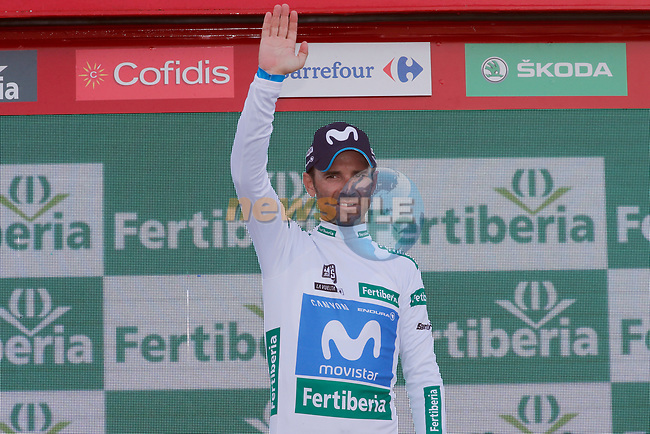 Alejandro Valverde (ESP) Movistar Team retains the Combined Jersey at the end of Stage 9 of the La Vuelta 2018, running 200.8km from Talavera de la Reina to La Covatilla, Spain. 2nd September 2018.<br /> Picture: Unipublic/Photogomezsport | Cyclefile<br /> <br /> <br /> All photos usage must carry mandatory copyright credit (© Cyclefile | Unipublic/Photogomezsport)