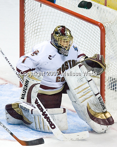 Cory Schneider (Boston College - Marblehead, MA) - The Boston College Eagles defeated the University of North Dakota Fighting Sioux 6-4 in their 2007 Frozen Four semi-final on Thursday, April 5, 2007, at the Scottrade Center in St. Louis, Missouri.