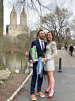 """New York, New York City. """"This is not the wedding I planned at all!"""" laments the newly married bride in Central Park, after her wedding was cancelled due to the coronavirus. """"But it was perfect."""""""