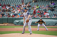 Tyler Thornburg (18) of the Colorado Springs Sky Sox delivers a pitch to the plate against the Salt Lake Bees in Pacific Coast League action at Smith's Ballpark on May 24, 2015 in Salt Lake City, Utah.  (Stephen Smith/Four Seam Images)