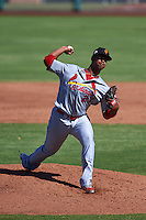 Surprise Saguaros pitcher Alex Reyes (27) delivers a pitch during an Arizona Fall League game against the Scottsdale Scorpions on October 22, 2015 at Scottsdale Stadium in Scottsdale, Arizona.  Surprise defeated Scottsdale 7-6.  (Mike Janes/Four Seam Images)