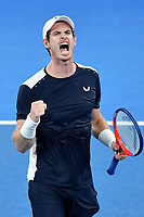 January 14, 2019: Andy Murray reacts after winning the 3rd set in the first round match against 22nd seed Roberto Bautista Agut on day one of the 2019 Australian Open Grand Slam tennis tournament in Melbourne, Australia. Photo Sydney Low