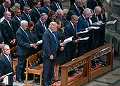 Current and former United States Presidents in attendance at the National funeral service in honor of the late former US President George H.W. Bush at the Washington National Cathedral in Washington, DC on Wednesday, December 5, 2018.  Front row, from left to right: former US President George W. Bush, US President Donald J. Trump, first lady Melania Trump, former US President Barack Obama, former US President Bill Clinton, former US Secretary of State Hillary Rodham Clinton, former US President Jimmy Carter, former first lady Rosalynn Carter.  Second row: US Vice President Mike Pence, Karen Pence, former US Vice President Dan Quayle, former US Vice President Dick Cheney, former US Vice President Joe Biden, Jill Biden.<br /> Credit: Ron Sachs / CNP<br /> (RESTRICTION: NO New York or New Jersey Newspapers or newspapers within a 75 mile radius of New York City)