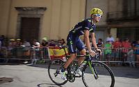 Gorka Izagirre (ESP/Movistar) to the start<br /> <br /> stage 19: St-Jean-de-Maurienne - La Toussuire / Les Sybelles   (138km)<br /> Tour de France 2015