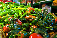 Red, Green, Peppers, Urban, Downtown, Farm-fresh, produce, Grand, Central, Market, Los Angeles, CA, Public, Southern, California, meats, people, poultry, fresh, vegetables, Fruits