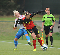 20161023 - TUBIZE , BELGIUM : Belgian Maud Coutereels (R) and Russian Daria Makarenko (L) pictured during a friendly game between the women teams of the Belgian Red Flames and Russia at complex Euro 2000 in Tubize , Sunday 23 October 2016 ,  PHOTO Dirk Vuylsteke | Sportpix.Be