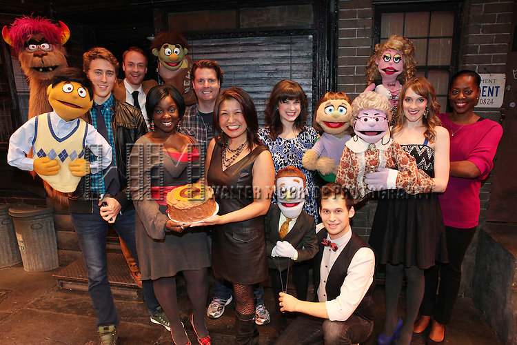 The cast of 'Avenue Q' (L to R) Darren Bluestone (Princeton), Ron Morrison (Trekkie), Danielle K. Thomas, Nicholas Kohn, Hazel Anne Raymundo, Veronica Kuehn (Kate Monster), Jed Resnick (Rod), Lexy Fridell (Mrs. T), Robin S. Walker (Lucy) celebrating their 3rd Anniversary Off-Broadway at The World Stages on 10/22/2012 in New York City.