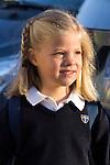 14.09.2012. Prince Felipe of Spain, Princess Letizia of Spain and their daughters Leonor and Sofia  arrive at 'Santa Maria de los Rosales' School in Aravaca near of Madrid, Spain. In the image Princess Sofia (Alterphotos/Marta Gonzalez)