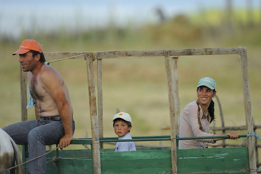 Farming family. Lake Prespa National Park, Albania June 2009