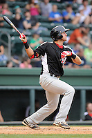 Third baseman Joey Gallo (30) of the Hickory Crawdads bats in a game against the Greenville Drive on Sunday, June 9, 2013, at Fluor Field at the West End in Greenville, South Carolina. Gallo is the No. 10 prospect of the Texas Rangers, according to Baseball America and was a first-round pick (39th overall) in the 2012 First-Year Player Draft. Hickory won, 6-3. (Tom Priddy/Four Seam Images)