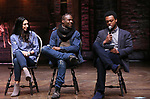 "Lauren Boyd, Justin Dine Bryant and J. Quinton Johnson during the  #EduHam matinee performance Q & A for ""Hamilton"" at the Richard Rodgers Theatre on 3/28/2018 in New York City."