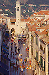 Croatia, Dubrovnik, The Stradun, Marble street, old town, UNESCO World Heritage Site, Dalmatian Coast, Adriatic Sea, Europe,.
