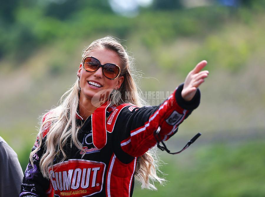 Jun 21, 2015; Bristol, TN, USA; NHRA top fuel driver Leah Pritchett during the Thunder Valley Nationals at Bristol Dragway. Mandatory Credit: Mark J. Rebilas-