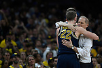 SAN ANTONIO, TX - APRIL 02: Head coach John Beilein and Duncan Robinson #22 of the Michigan Wolverines hug after the 2018 NCAA Men's Final Four National Championship game against the Villanova Wildcats at the Alamodome on April 2, 2018 in San Antonio, Texas.  (Photo by Chris Steppig/NCAA Photos via Getty Images)