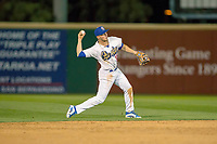 Rancho Cucamonga Quakes shortstop Gavin Lux (14) makes a throw to first base against the Inland Empire 66ers at LoanMart Field on April 12, 2018 in Rancho Cucamonga, California. The 66ers defeated the Quakes 5-4.  (Donn Parris/Four Seam Images)