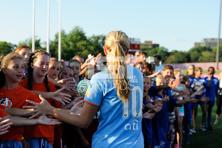 Allie Long (10) of Sky Blue FC. The Western New York Flash defeated Sky Blue FC 4-1 during a Women's Professional Soccer (WPS) match at Yurcak Field in Piscataway, NJ, on July 30, 2011.